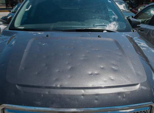 Hail Damaged Car